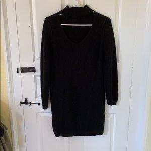 Black mini sweater dress